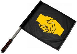 Fahne / Flagge (ca. 40x35cm): Sozialistischer Handschlag