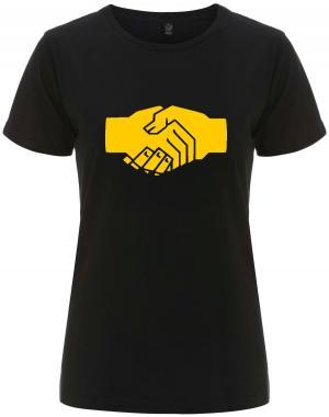 tailliertes Fairtrade T-Shirt: Sozialistischer Handschlag