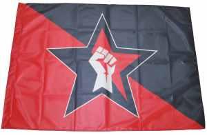 Fahne / Flagge (ca. 150x100cm): Stern Faust (schwarz/roter Hintergrund)