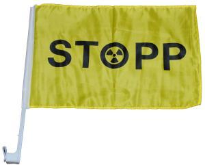 Autofahne: Stopp Atomkraft