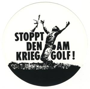 Aufkleber: Stoppt den Krieg am Golf!