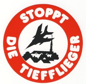 Aufkleber: Stoppt die Tiefflieger