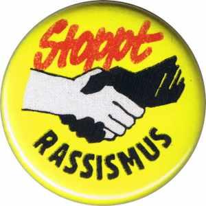 50mm Button: Stoppt Rassismus