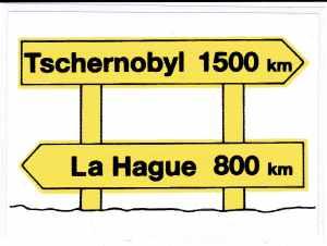 Aufkleber: Tschernobyl 1500km _ La Hague 800km