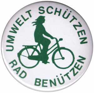 37mm Button: Umwelt schützen Rad benützen