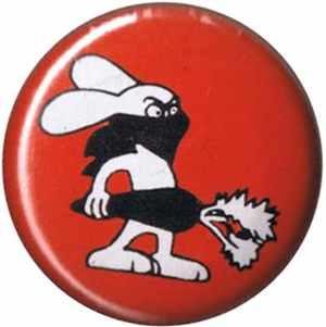 50mm Button: Vegan Rabbit - Red
