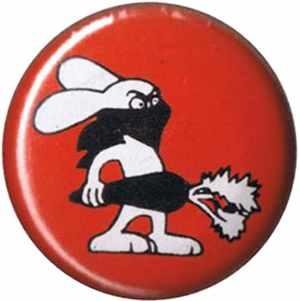 50mm Magnet-Button: Vegan Rabbit - Red