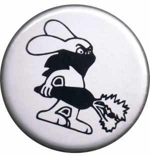 50mm Button: Vegan Rabbit - White