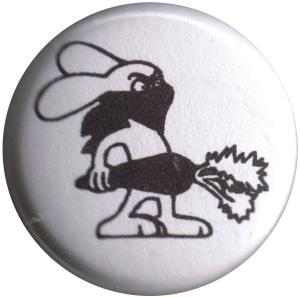 25mm Button: Vegan Rabbit - White