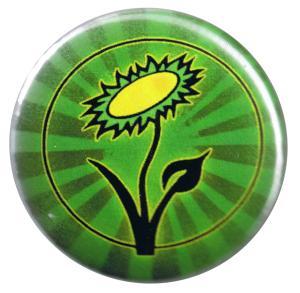37mm Button: Vegane Blume