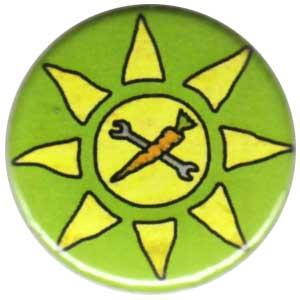 25mm Button: Vegane Sonne