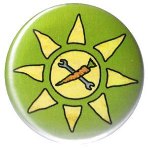 37mm Button: Vegane Sonne