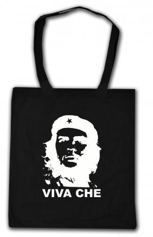 Baumwoll-Tragetasche: Viva Che Guevara (weiß/schwarz)