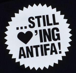 Detailansicht Kapuzen-Pullover: ... still loving antifa!