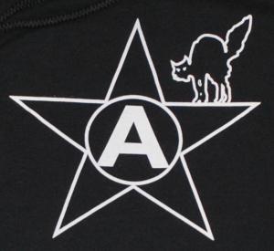 Detailansicht Kapuzen-Pullover: Anarchie-Stern mit schwarzer Katze