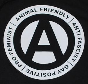 Detailansicht Kapuzen-Pullover: Animal-Friendly - Anti-Fascist - Gay Positive - Pro Feminist