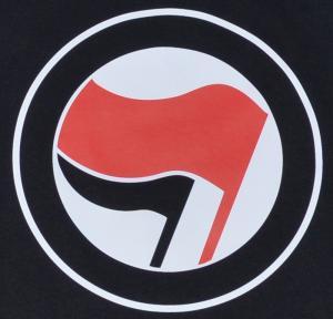 Detailansicht Longsleeve: Antifa Logo (rot/schwarz, ohne Schrift)