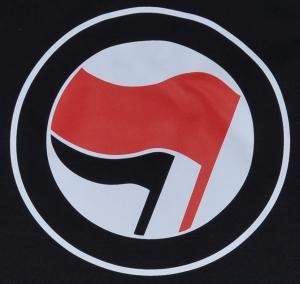 Detailansicht tailliertes T-Shirt: Antifa Logo (rot/schwarz, ohne Schrift)