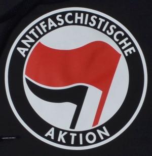 Detailansicht Woman Kapuzen-Pullover: Antifaschistische Aktion (rot/schwarz)