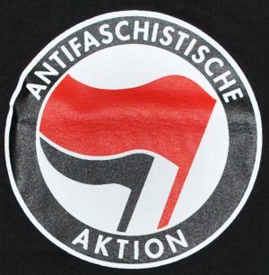 Detailansicht T-Shirt: Antifaschistische Aktion (rot/schwarz)