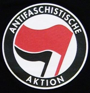 Detailansicht Girlie-Shirt: Antifaschistische Aktion (rot/schwarz)