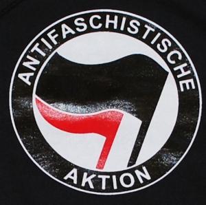 Detailansicht Kapuzen-Pullover: Antifaschistische Aktion (schwarz/rot)