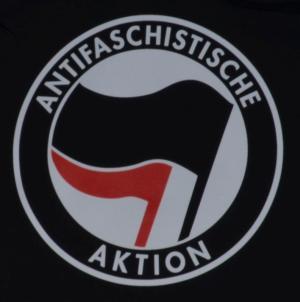 Detailansicht taillierter Kapuzen-Pullover: Antifaschistische Aktion (schwarz/rot)