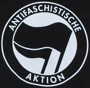Detailansicht Kapuzen-Pullover: Antifaschistische Aktion (schwarz/schwarz)
