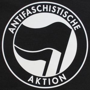 Detailansicht Girlie-Shirt: Antifaschistische Aktion (schwarz/schwarz)