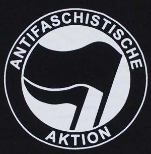 Detailansicht T-Shirt: Antifaschistische Aktion (schwarz/schwarz)