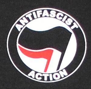 Detailansicht Polo-Shirt: Antifascist Action (schwarz/rot)