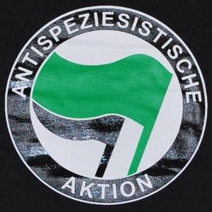 Detailansicht Girlie-Shirt: Antispeziesistische Aktion (grün/schwarz)