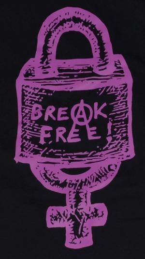 Detailansicht Fairtrade T-Shirt: Break free (lila)