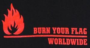Detailansicht Kapuzen-Longsleeve: Burn your flag - worldwide (red)