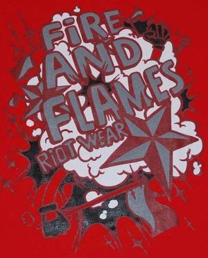 Detailansicht Girlie-Shirt: Comics red