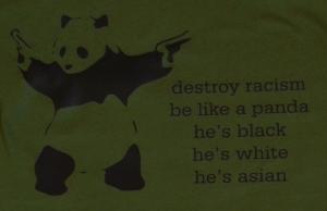 Detailansicht Fairtrade T-Shirt: destroy racism - be like a panda
