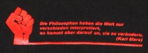 Detailansicht Kapuzen-Pullover: Die Philosophen haben die Welt nur verschieden interpretiert.