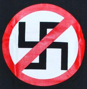 Detailansicht T-Shirt: Durchgestrichenes Hakenkreuz