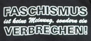 Detailansicht Kapuzen-Pullover: Faschismus ist keine Meinung, sondern ein Verbrechen!