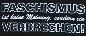 Detailansicht Girlie-Shirt: Faschismus ist keine Meinung, sondern ein Verbrechen!
