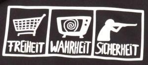 Detailansicht Kapuzen-Pullover: Freiheit - Wahrheit - Sicherheit