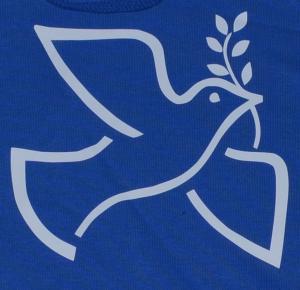 Detailansicht Kapuzen-Pullover: Friedenstaube mit Zweig
