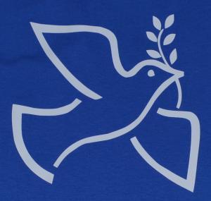 Detailansicht Girlie-Shirt: Friedenstaube mit Zweig