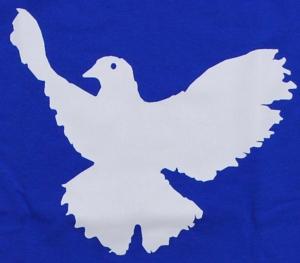 Detailansicht tailliertes T-Shirt: Friedenstaube