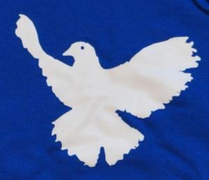 Detailansicht Kapuzen-Pullover: Friedenstaube