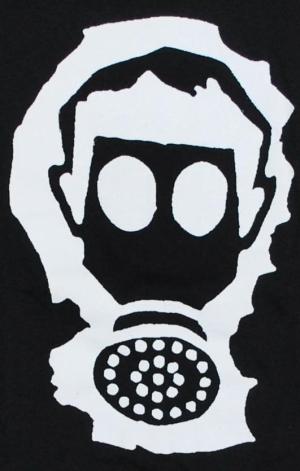 Detailansicht Girlie-Shirt: Gasmaske