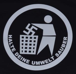Detailansicht Fairtrade T-Shirt: Halte Deine Umwelt sauber