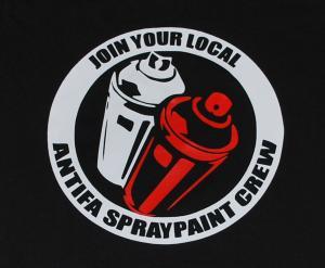 Detailansicht tailliertes T-Shirt: Join your local antifa spraypaint crew