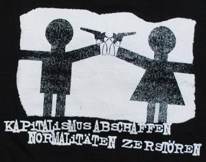 Detailansicht Girlie-Shirt: Kapitalismus abschaffen. Normalitäten zerstören.