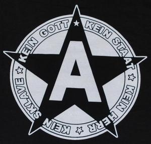 Detailansicht Girlie-Shirt: Kein Gott Kein Staat Kein Herr Kein Sklave